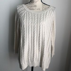 AMERICAN EAGLE | White Cable Knit Sweater L